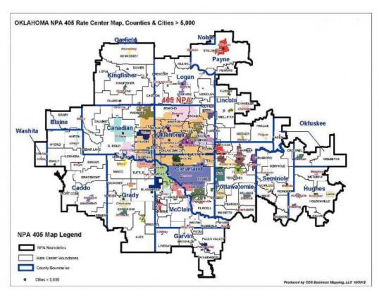 Pictured above is the area that uses the 405 area code and will be impacted by the upcoming changes. Photo/submitted.
